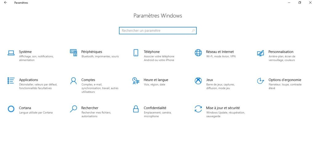 panneau de configuraiton de windows