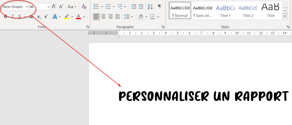 appliquer une nouvelle plice d'écriture dans un rapport